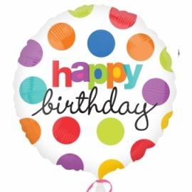 fóliový balón happy birthday bodky
