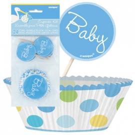 Košíčky na muffiny baby boy dots