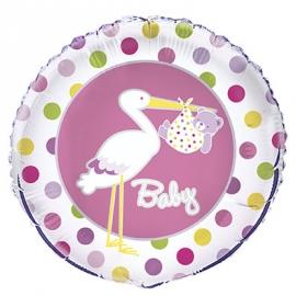 Foliový balón Baby Girl dots
