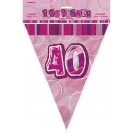 Vlajočky 40. narodeniny Glitz pink