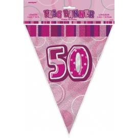 Vlajočky 50. narodeniny Glitz pink