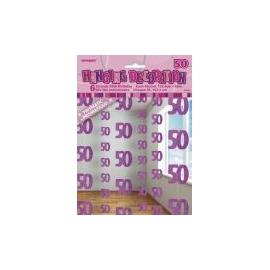 Visiace dekorácie glitz 50 ružové