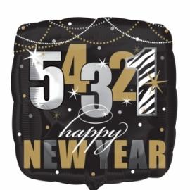 fóliový balón happy new year čierna