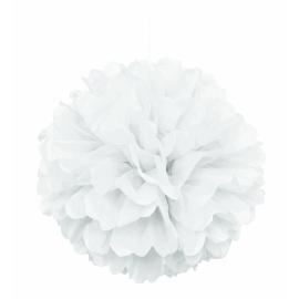 Nariasená pompónová guľa biela
