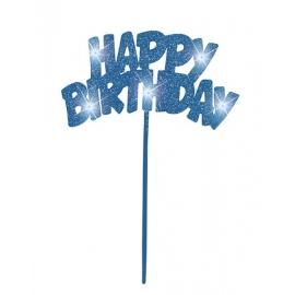 Tortová dekorácia led Happy Birthday blue