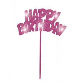 Tortová dekorácia led Happy Birthday pink