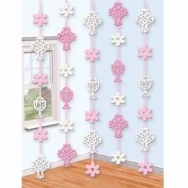 Závesné dekorácie krížik ružové