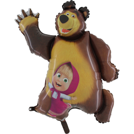 MAXI fóliový balón medveď a Máša