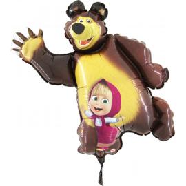 Mini fóliový balón medveď a Masha