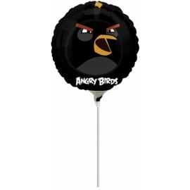 Mini fóliový balón Angry Birds čierny