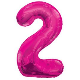 MAXI ružový fóliový balón 2. narodeniny