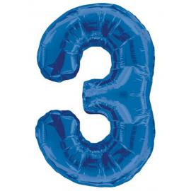MAXI modrý fóliový balón 3. narodeniny