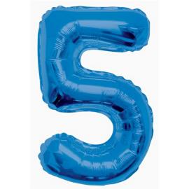 MAXI modrý fóliový balón 5. narodeniny