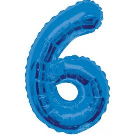 MAXI modrý fóliový balón 6. narodeniny