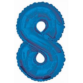 MAXI modrý fóliový balón 8. narodeniny