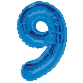 MAXI modrý fóliový balón 9. narodeniny
