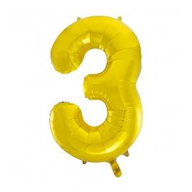 MAXI zlatý fóliový balón 3. narodeniny