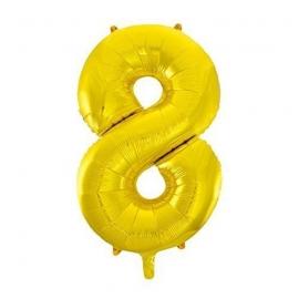 MAXI zlatý fóliový balón 8. narodeniny