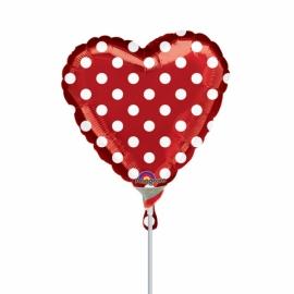 Mini fóliový balónik srdce s bodkami