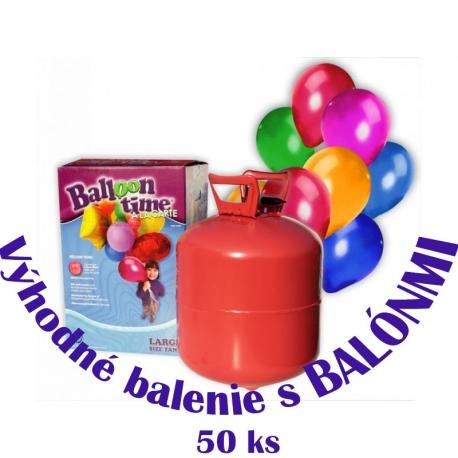 Héliová fľaša + balóny 50ks
