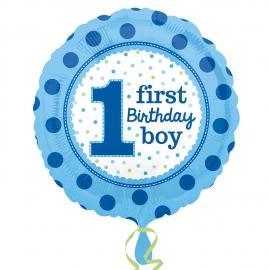 Fóliový balón 1 First Birthday Boy bodky