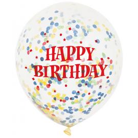 Balóny Happy Birthday s konfetami