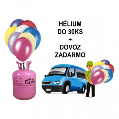 Hélium do 30 ks balónov s donáškou ZADARMO