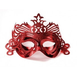 Škraboška červená s ornamentom
