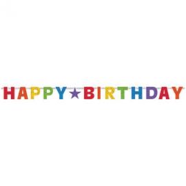 Banner Happy Birthday prizmatický