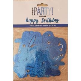 Banner Happy Birthday modrý trblietky