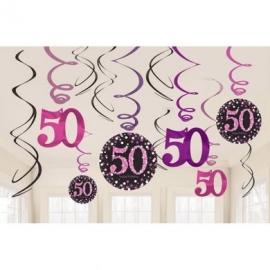 Visiace špirály 50 čierno-ružová sada