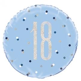Fóliový balón 18 modrý so strieborným číslom