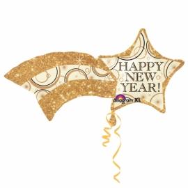 MAXi fóliový balón happy new year hviezda zlatá
