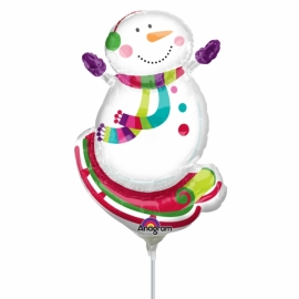 Mini foliový balón Snehuliačik na sánkach