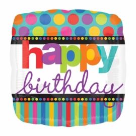 fóliový happy birthday bodky a pásiky
