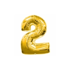 MAXI zlatý fóliový balón 2. narodeniny