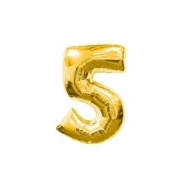 MAXI zlatý fóliový balón 5. narodeniny