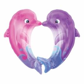 fóliový balón bozkávajúce sa delfíny