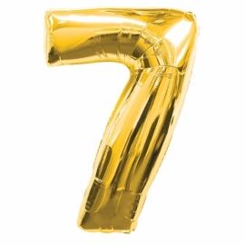MAXI zlatý fóliový balón 7. narodeniny