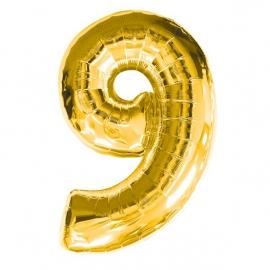 MAXI zlatý fóliový balón 9. narodeniny