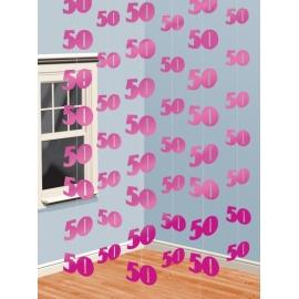 Visiace dekorácie ružové 50